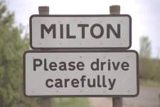 The sign as you enter Milton from the south