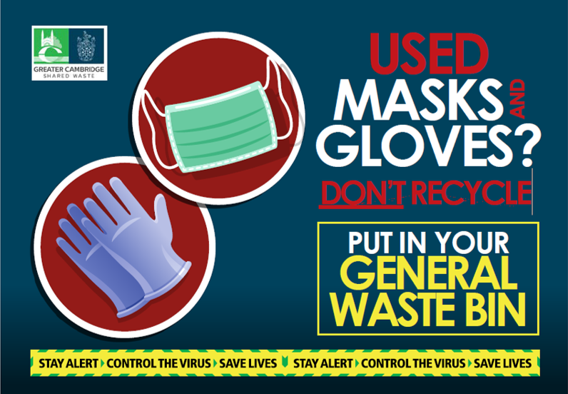 South Cambs poster with pictures of disposable masks and gloves